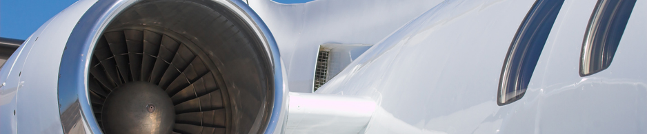 Closeup of passenger jet